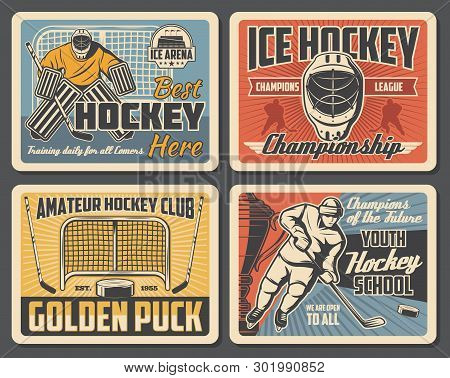 Ice Hockey League Championship, Sport Club Team Match Tournament. Vector Vintage Posters Of Ice Hock
