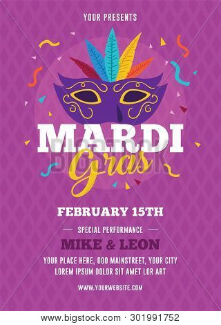 Mardi Gras Flyer Template With Mask Illustration