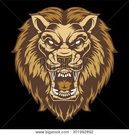Angry Lion Head. Vector Illustration For Use As Print, Poster, Sticker, Logo, Tattoo, Emblem And Oth