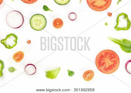 Fresh Vegetable Salad Ingredients, Shot From Above On A White Background. A Flatlay Composition With