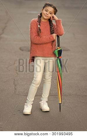 Colorful Accessory For Cheerful Mood. Girl Child Long Hair Ready Meet Fall Weather With Umbrella. St
