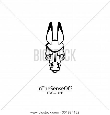 Head Of A Ridiculous Serious Donkey On A White Background. Sticker, Pattern, Background, Wall Decora