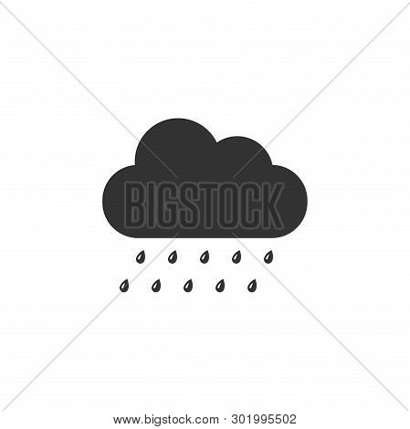 Cloud With Rain Icon Isolated. Rain Nimbus Cloud Precipitation With Rain Drops. Flat Design. Vector