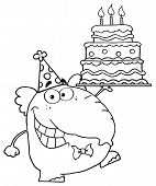 Outlined Cute Elephant Walking With Birthday Cake With Three Candles poster