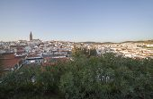 Jerez de los Caballeros townscape from Templar Fortress viewpoint. Church of San Bartolome tower at bottom poster