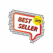 Vector illustration of bestseller tag for webpage and advertising. Retro banner template design poster