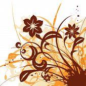 floral design illustration background drawing with grunge elemens poster