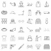 Labour legislation icons set. Outline set of 36 labour legislation icons for web isolated on white background poster