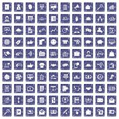 100 viral marketing icons set in grunge style sapphire color isolated on white background illustration poster