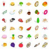 Nourishment icons set. Isometric set of 36 nourishment icons for web isolated on white background poster