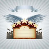 Winged movie banner. All elements are layered separately in vector file. Easy editable. poster