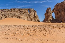 Sahara Desert.  Sahara Desert Landscape.  Amazing Sandstone Rock Formation  At  Tassili Najjer Natio