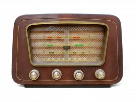 Old retro radio vintage. Old wooden retro style radio receiver vintage Radio, Speaker, Old, isolated