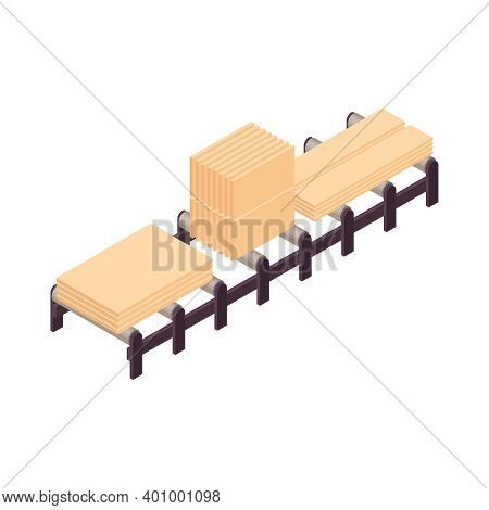 Isometric Wooden Furniture Composition With Woodcraft Timberware On Conveyor Vector Illustration