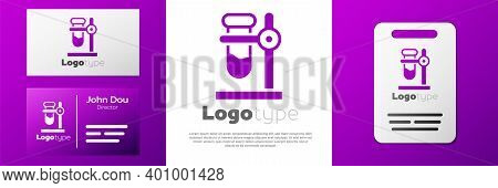 Logotype Glass Test Tube Flask On Stand Icon Isolated On White Background. Laboratory Equipment. Log