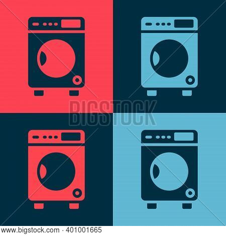 Pop Art Washer Icon Isolated On Color Background. Washing Machine Icon. Clothes Washer - Laundry Mac