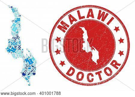 Vector Mosaic Malawi Map Of Syringe Icons, Hospital Symbols, And Grunge Health Care Rubber Imitation