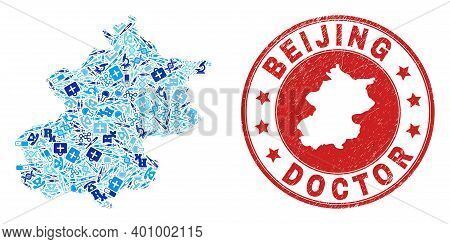 Vector Collage Beijing City Map With Medical Icons, First Aid Symbols, And Grunge Healthcare Rubber