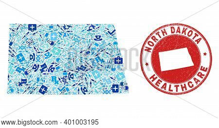 Vector Mosaic North Dakota State Map With Healthcare Icons, Test Symbols, And Grunge Healthcare Stam