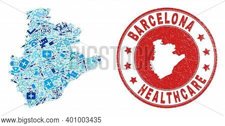 Vector Collage Barcelona Province Map With Treatment Icons, First Aid Symbols, And Grunge Healthcare