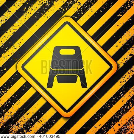 Black Baby Potty Icon Isolated On Yellow Background. Chamber Pot. Warning Sign. Vector