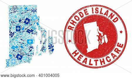 Vector Mosaic Rhode Island State Map With Healthcare Icons, First Aid Symbols, And Grunge Healthcare