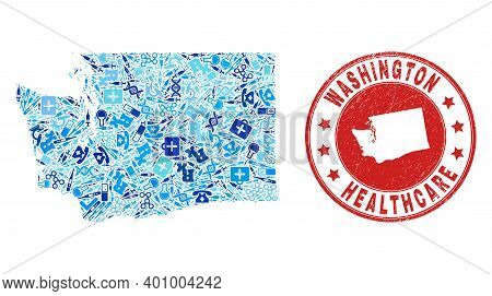 Vector Mosaic Washington State Map With Vaccination Icons, Receipt Symbols, And Grunge Doctor Rubber