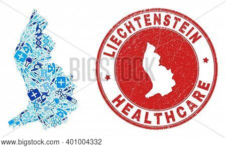 Vector Mosaic Liechtenstein Map With Vaccine Icons, Laboratory Symbols, And Grunge Healthcare Waterm