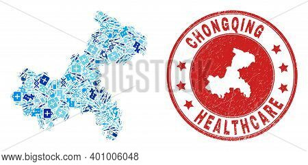 Vector Mosaic Chongqing City Map With Dose Icons, Analysis Symbols, And Grunge Healthcare Rubber Imi