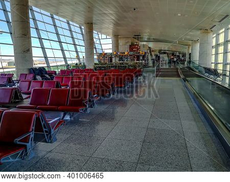 Turkey, Ankara - October 24, 2019: Large Bright Hall With Many Red Seats In The Departure Area Of An