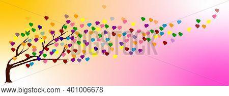Flat Art Abstract Illustration Background. Tree Of Love, Rainbow Heart. On Freeform Yellow-pink Grad