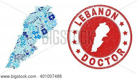 Vector Collage Lebanon Map Of Injection Icons, Hospital Symbols, And Grunge Health Care Rubber Imita