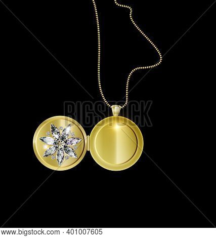 Black Background And Jewel Pendant Medallion Star With Golden Chain