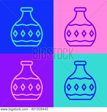 Pop Art Line Tequila Bottle Icon Isolated On Color Background. Mexican Alcohol Drink. Vector