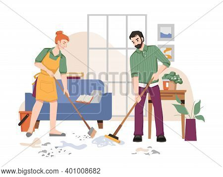 Couple Of People Sweeping And Washing Floor In House, Room Interior With Sofa, Table With Plants In