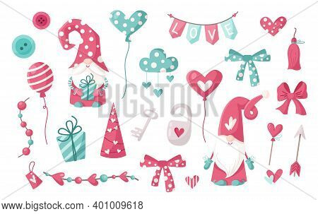 Valentine Cartoon Gnome Clipart Set - Cute Valentine Day Gnomes Or Dwarfs With Balloons, Hearts, Clo