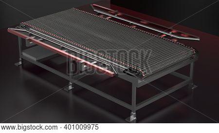 Conveyor Wire Mesh Belt - Conveyor Belt Chain For Food Industry - 3d Render