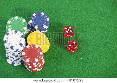 red dice on a casino table