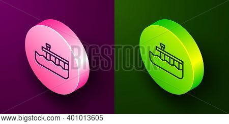 Isometric Line Beach Pier Dock Icon Isolated On Purple And Green Background. Circle Button. Vector