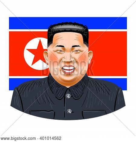 December 25, 2020: Vector Illustration Of Kim Chen In, Chairman Of The State Council Of The Dprk