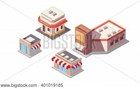 Isometric Vector Illustration Of A Shop And Restaurant Building. Perfect For Design Elements From Bu