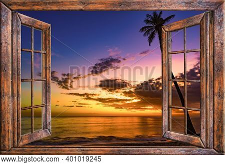 View From The Open Window Of The Caribbean Sunset