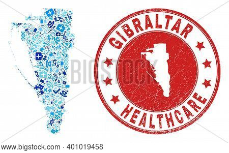 Vector Collage Gibraltar Map With Treatment Icons, Receipt Symbols, And Grunge Doctor Rubber Imitati