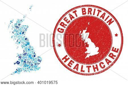 Vector Collage Great Britain Map With Dose Icons, Laboratory Symbols, And Grunge Healthcare Stamp. R