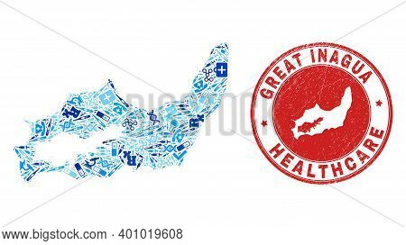 Vector Collage Great Inagua Island Map With Vaccination Icons, Laboratory Symbols, And Grunge Doctor