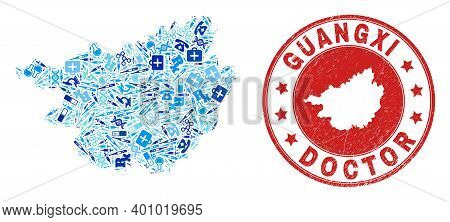 Vector Mosaic Guangxi Province Map Of Healthcare Icons, Chemical Symbols, And Grunge Doctor Watermar