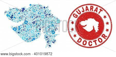 Vector Mosaic Gujarat State Map Of Treatment Icons, Medicine Symbols, And Grunge Health Care Seal St