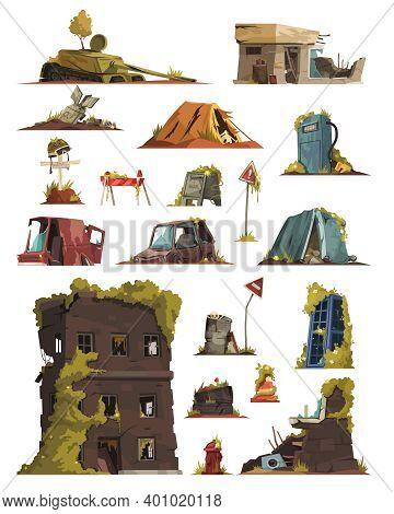 Post Apocalypse Cartoon Set Of Abandoned City Buildings Cars Destroy In War Zone Vector Illustration