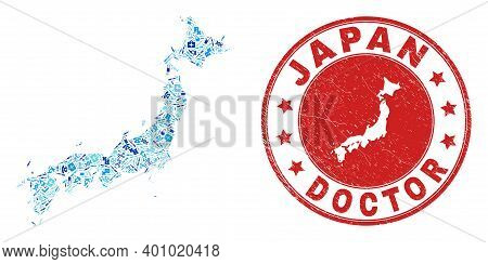 Vector Collage Japan Map With Medical Icons, Medicine Symbols, And Grunge Healthcare Rubber Imitatio