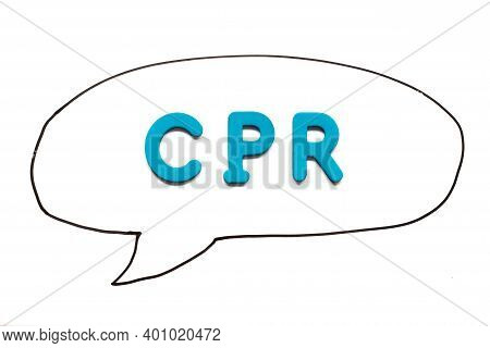 Alphabet Letter With Word Cpr (abbreviation Of Cardiopulmonary Resuscitation) In Black Line Hand Dra